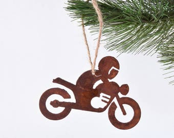 Motorcycle Rider Metal Ornament / Biker / Rusty Metal Ornament / Christmas Gift / Christmas Ornament / Stocking Stuffer / Gifts for Him