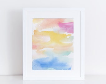Modern Watercolor Print, Art Print, Colorful Print, Abstract Landscape, clouds, sky, Sea, Ocean, Water