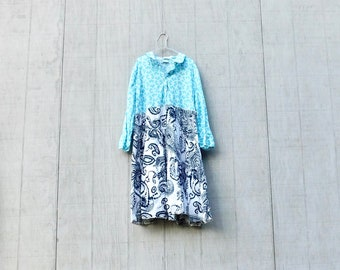 Blau und schwarz, Feder Tunika, Langarmkleid, Upcycled Kleidung, Damen Kleid, Sommer, Upcycling Kleid, romantisch, Boho, CreoleSha