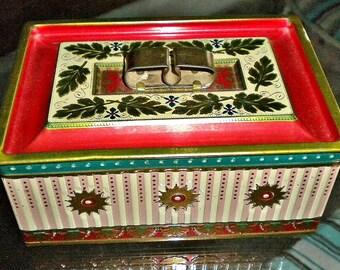 Vintage Shabby Tin, Vintage Carnival, Antique Circus, Candy Tin, Kitchen Storage, Shabby Kitchen