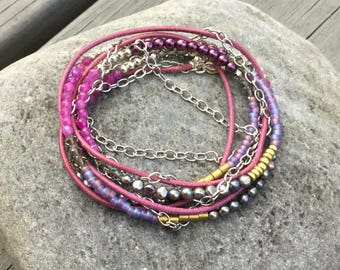 Leather Wrap Bracelet,Magenta,3 strands with Sterling Silver, Brass, Pink Jade, and Freshwater Pearls