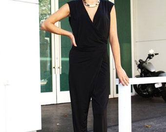 Black sleeveless silky wraparound jumpsuit