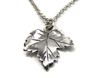 Silver Leaf Necklace - Maple Leaf Necklace -Gifts Under 50 - Gifts for Her - Everyday Necklace - Modern Necklace -Sycamore - Small Pendant