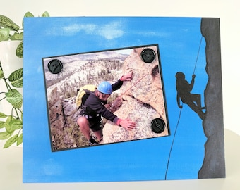 Mountain Climbing - Magnetic Picture Frame Handmade Gift Present Home Decor by Frame A Memory Size 9 x 11 Holds 5 x 7 Photo - Outdoor Sports