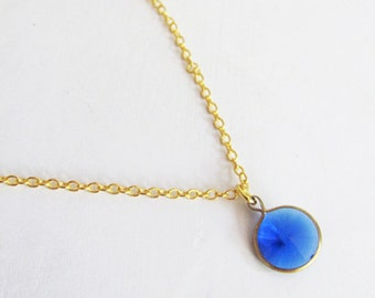 Blue Coin Necklace - Small Necklace - Dainty Necklace - Simple Necklace - Thin Necklace - Everyday Necklace