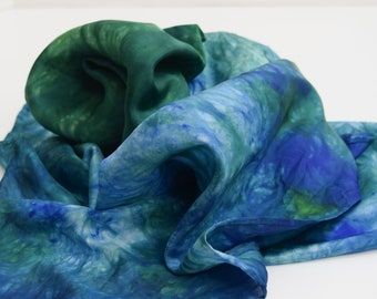 Hand Dyed Silk Scarf  Hand painted Scarf - Blue and Green Habotai Silk Batik women's fashion