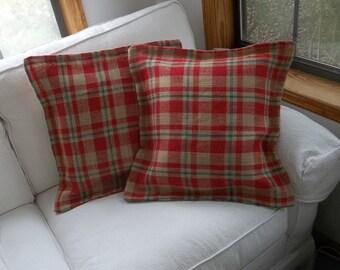 Custom Plaid Burlap Pillows Pair Christmas Pillow Shams Red Plaid Burlap Set Throw Pillows Decorative Pillows Rustic Pillow Covers