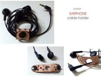 Cord organizer, Earphone Cable organizer, Leather earphone holder , headphone, earphone