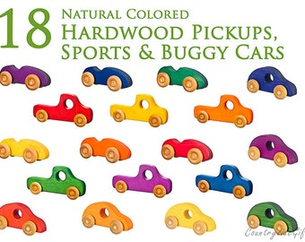 Wooden Toy Car & Trucks –Natural and Organic Wooden Toy Cars, Truck, Wooden Toy Sports Cars, Buggy Cars,Trucks - Set Of 18