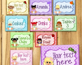 Baby Princess cards Name cards Table place cards Table decorations Little Princesss baby shower tent cards birthday Food Labels 12 PRECUT