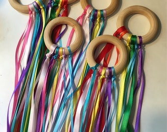 Hand kite // Ribbon kites // Dance accessory // Fairy wand // Princess Party Favor