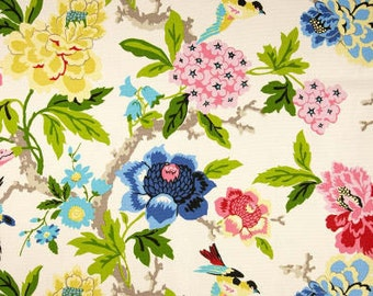 Custom Drapes Waverly Candid Moment Gardenia Curtain Panels, Bird Floral Fabric, Pink, Blue, Yellow