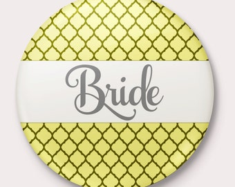 Yellow Wedding, Rehearsal, Engagement and Bachelorette Party Name Tag Buttons, customize name and colors