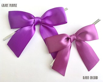 12 Orchid or Grape Purple Pre-made Bows