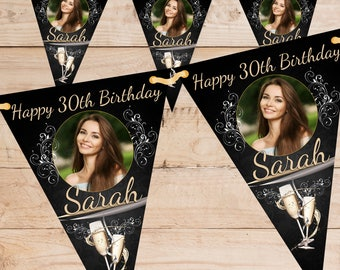 Personalised Happy Birthday PHOTO Flag Banner Bunting with ribbon N64 (10 Flags ) Black Gold Hanging Decoration 18th 21st 30th 40th Any Age