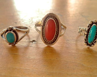 Fred Harvey Era Sterling Turquoise Red Coral Rings Sold Separately