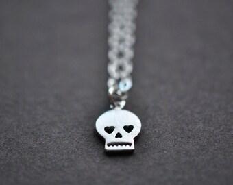 Skull Necklace - Silver Skull Necklace - Small Skull Pendant With Sterling Silver Chain - Skull Jewelry - Aldari Jewelry Designs
