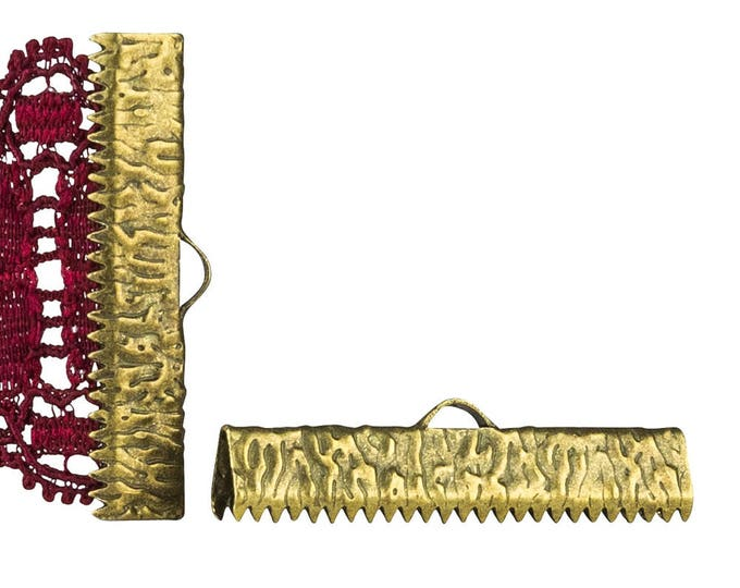 16 pieces  30mm ( 1 3/16 inch )  Antique Bronze Ribbon Clamp End Crimps - Artisan Series