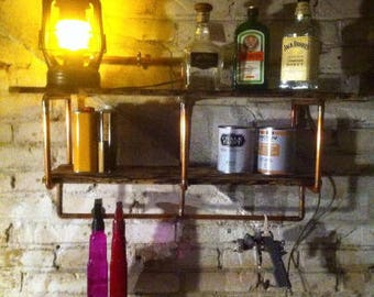 Shelf industrial type wood and copper