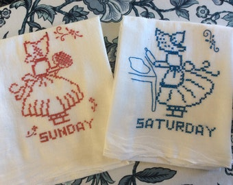 Hand Embroidered Weekend Dish Towels /Red, White and Blue