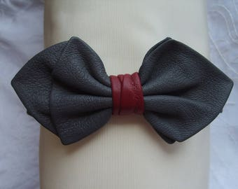Bow tie, grey leather and Red Ring