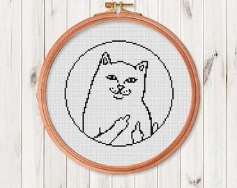 Cat Cross Stitch Pattern Modern Cross Stitch Chart Pdf Format Instant Download