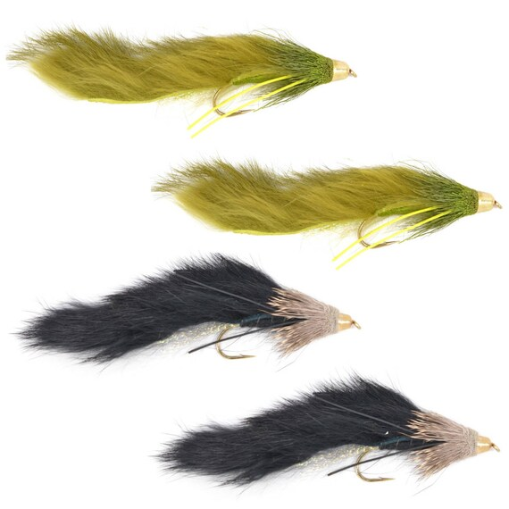 Cone Head Muddy Buddy Streamer Assortment Olive  and Black - Trout and Bass Fly Fishing Flies - Hook Size 4 - Set of 4 Hand Tied Trout Flies