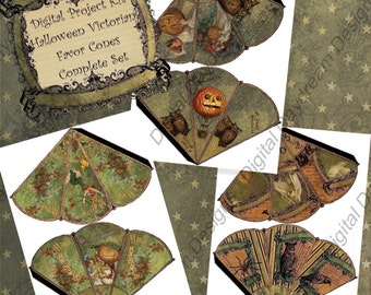 Instant Download Digital Printable Halloween Victorian Favor Cone Kit Sets 1, 2, and 3