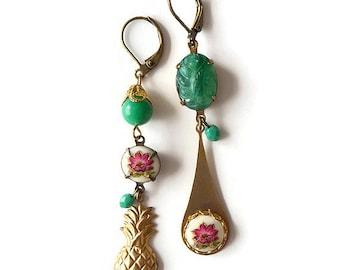 Asymmetric Pineapple Earrings - Asymmetrical Earrings - Mismatched Earrings - Pink Gold Green Earrings - Antilles Earrings (SD0925)