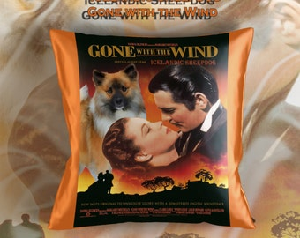 Icelandic Sheepdog Art Pillow Case Throw Pillow - Gone with the Wind Movie Poster  Perfect DOG LOVER Gift for Her Gift for Him