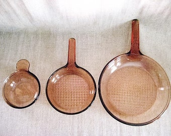 """Vintage Vision Corning Cookware / Corning Brown Glass  7"""" & 10"""" Skillet + Bowl / Amber Brown Vision Cookware"""
