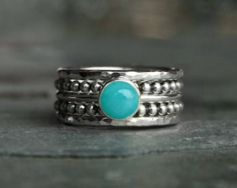 Gemstone Stacking Ring Sterling Silver Set, Five Rings, 6mm Round Cabochon, Choose Your Stone, Hammered & Dot Bead Spacer Ring Bands 5 Rings