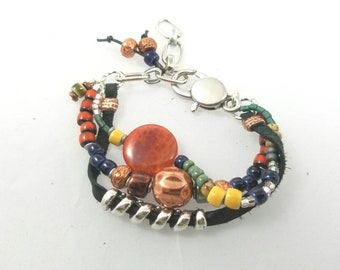 Unisex Multi Strand Leather Bracelet silver beads ceramic beads glass beads orange beads green beads copper beads lobster clasp chain