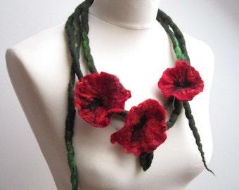 Felt Flower Necklace Red Wild Poppy Felt Floral Necklace Three Felted Flowers on Long Green Dread Spring Fashion Belt Headband Papaver