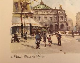 Vintage Watercolor Print of a Parisien Scene, c1950's.