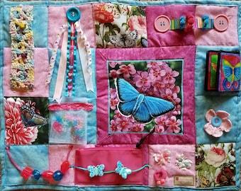 Blue Skies and Butterflies Fidget Blanket - Fidget Quilt for Dementia, Alzheimer, Stroke, Nursing Home patients with many calming activities