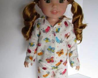 Handmade 14.5 doll clothes- Bugs and Butterflies Pajamas, made to fit 14.5 dolls