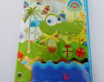double birthday card in 3D crocodile with moving eyes and envelope color beads