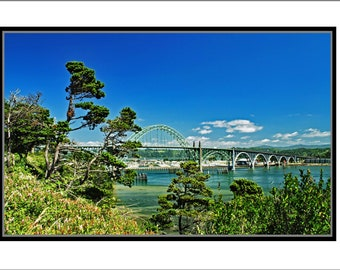Digital art print of seven arch Highway 101 bridge over Yaquina Bay at Newport, Oregon, taken on amazingly clear day.
