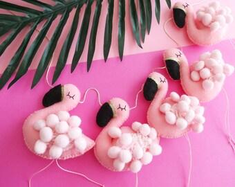 FLAMINGO Garland - pale pink pom poms gold and black beak