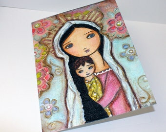 Madonna with Child and Flowers - Mother's Day - Greeting Card 5 x 7 inches - Folk Art By FLOR LARIOS