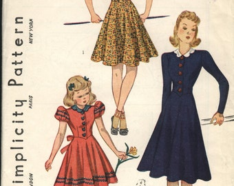 VINTAGE Simplicity Pattern 1930s 1940s Very Fashionable Girls Dress FACTORY FOLDED Size 8 Sleeve Collar Options