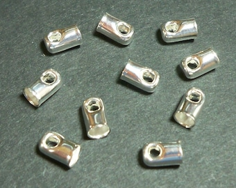 Cord End, Silver Plated with 3mm Inner Diameter, Glue In Style, Pack of 10, Item 816