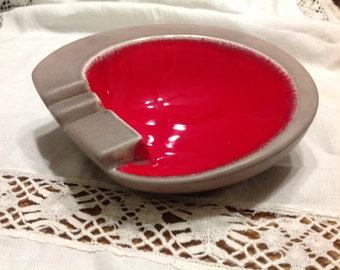 Red and Gray Ceramic  Ashtray Round Ashtray by Ross Ceramics California