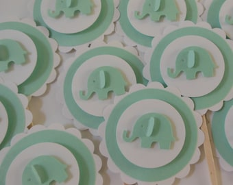 Elephant Cupcake Toppers - Mint Green and White - Gender Neutral - Baby Shower Decorations - Birthday Decorations - Set of 12