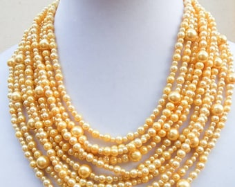 Canary yellow pearl bib necklace, multistrand
