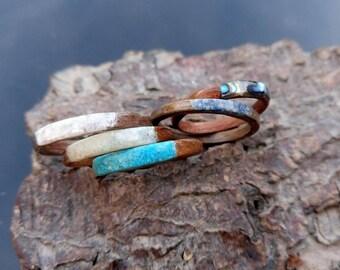 Single bentwood stacking ring various stones
