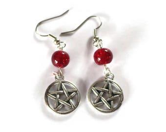 Supernatural inspired Earrings Pentacle