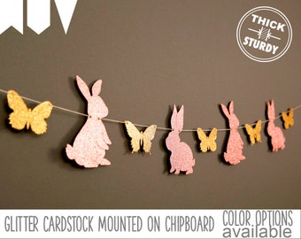bunny garland with butterflies, some bunny is one, bunny baby shower, Easter decorations, glitter party decorations
