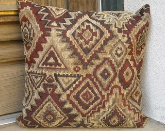 Southwestern pillow cover.  Taos made.  16 x 16 to 24 x 24.  Heavy duty fabric, soft and sturdy.  Rich mahogany browns